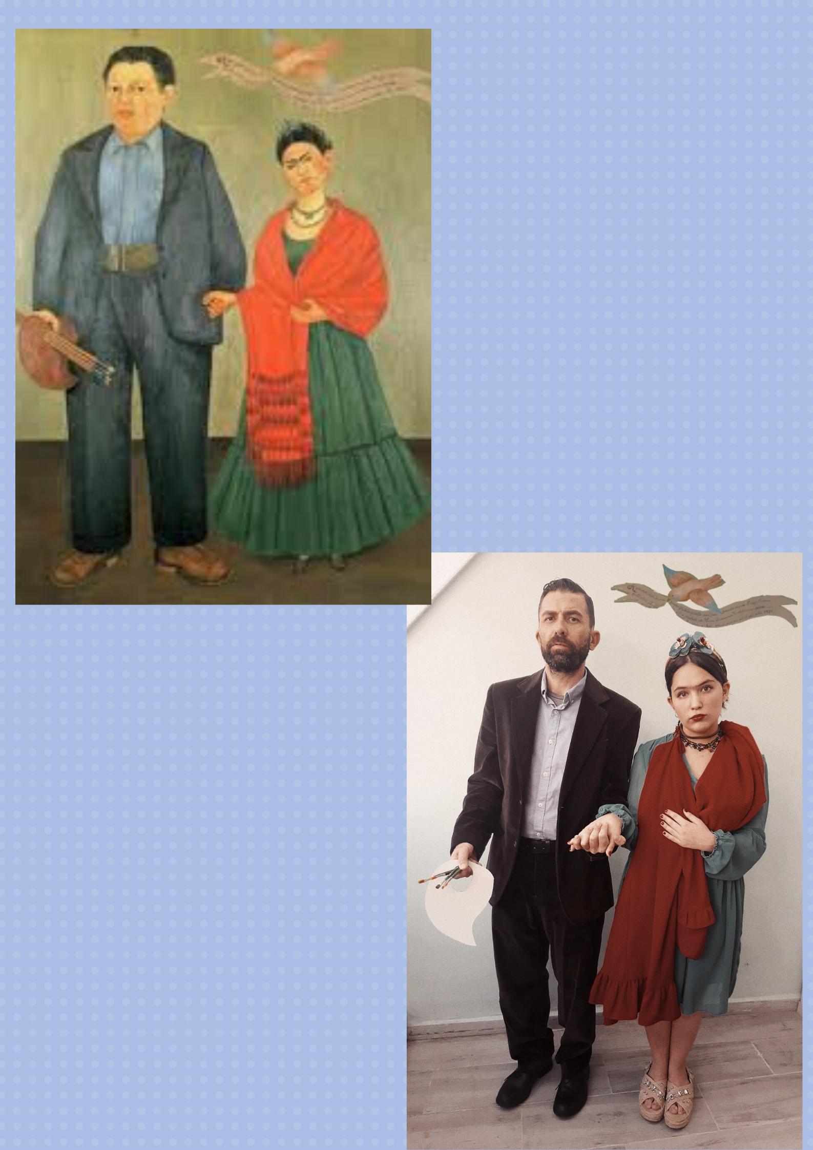 Diego y yo. La paloma y el elefante posan juntos en este retrato de Frida Kahlo vs Alma de Indira Godoy
